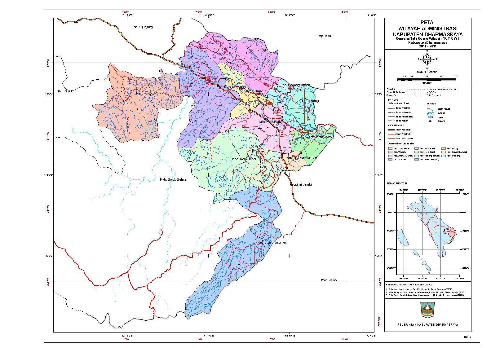 Peta Administrasi Kabupaten Dharmasraya